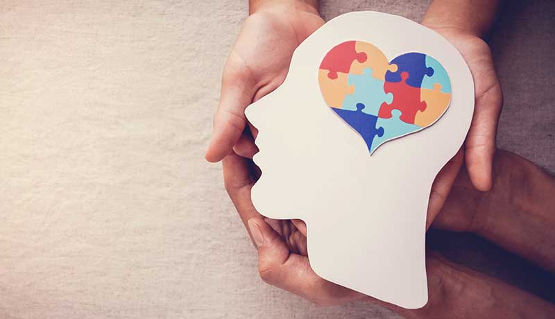 Two pairs of hands join to hold up a white silhouette of a head which has a brain formed of multi-colored puzzle pieces in the shape of a heart. This is symbolic of the social emotional learning (SEL) and equity concept called the Mirror-Window Effect.