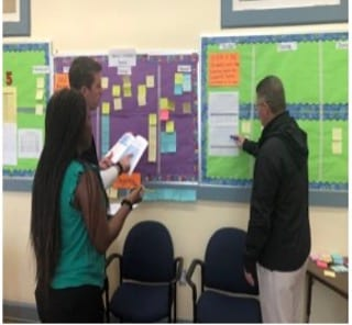 A school principal stands in front of an action board with two teachers or educators during a daily stand-up to review progress to the school improvement plan goals.