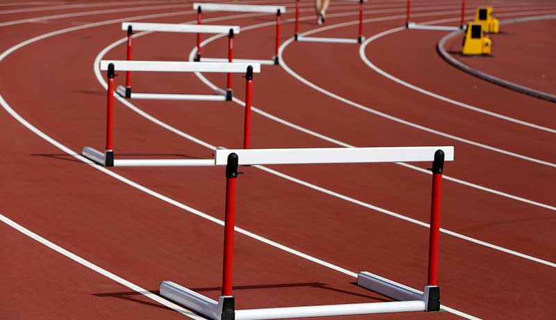 Hurdles on a Race Track
